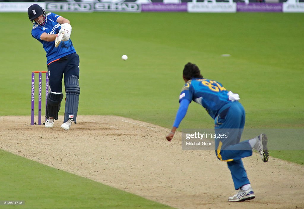 Joe Root of England hits the ball for four runs off the bowling of Suranga Lakmal of Sri Lanka during the 4th Royal London One-Day International between England and Sri Lanka at The Kia Oval Cricket Ground on June 29, 2016 in London, England.