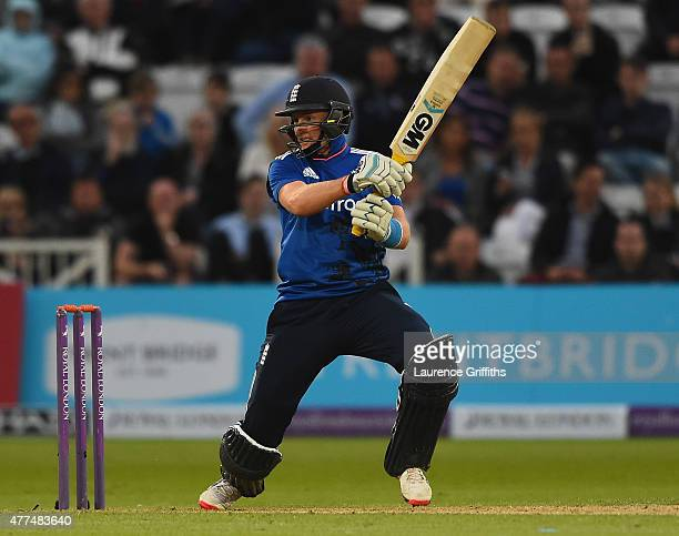 Joe Root of England hits the ball to the boundary during the 4th ODI Royal London OneDay International between England and New Zealand at Trent...