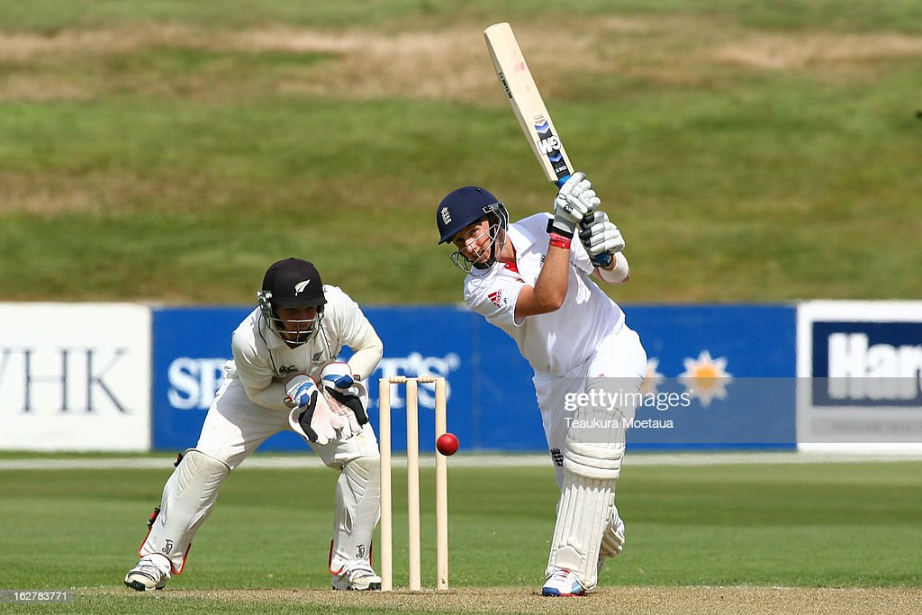 Joe Root of England hits to the offside during the International tour match between New Zealand XI and England at Queenstown Events Centre on February 27, 2013 in Queenstown, New Zealand.