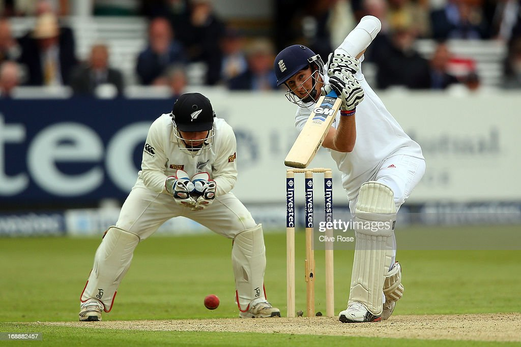 <a gi-track='captionPersonalityLinkClicked' href=/galleries/search?phrase=Joe+Root&family=editorial&specificpeople=6688996 ng-click='$event.stopPropagation()'>Joe Root</a> of England in action during day one of 1st Investec Test match between England and New Zealand at Lord's Cricket Ground on May 16, 2013 in London, England.