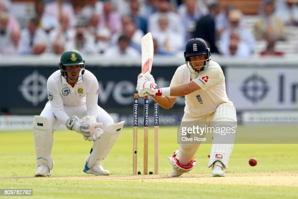 Joe Root of England in action during day one of the 1st Investec Test match between England and South Africa at Lord's Cricket Ground on July 6 2017...