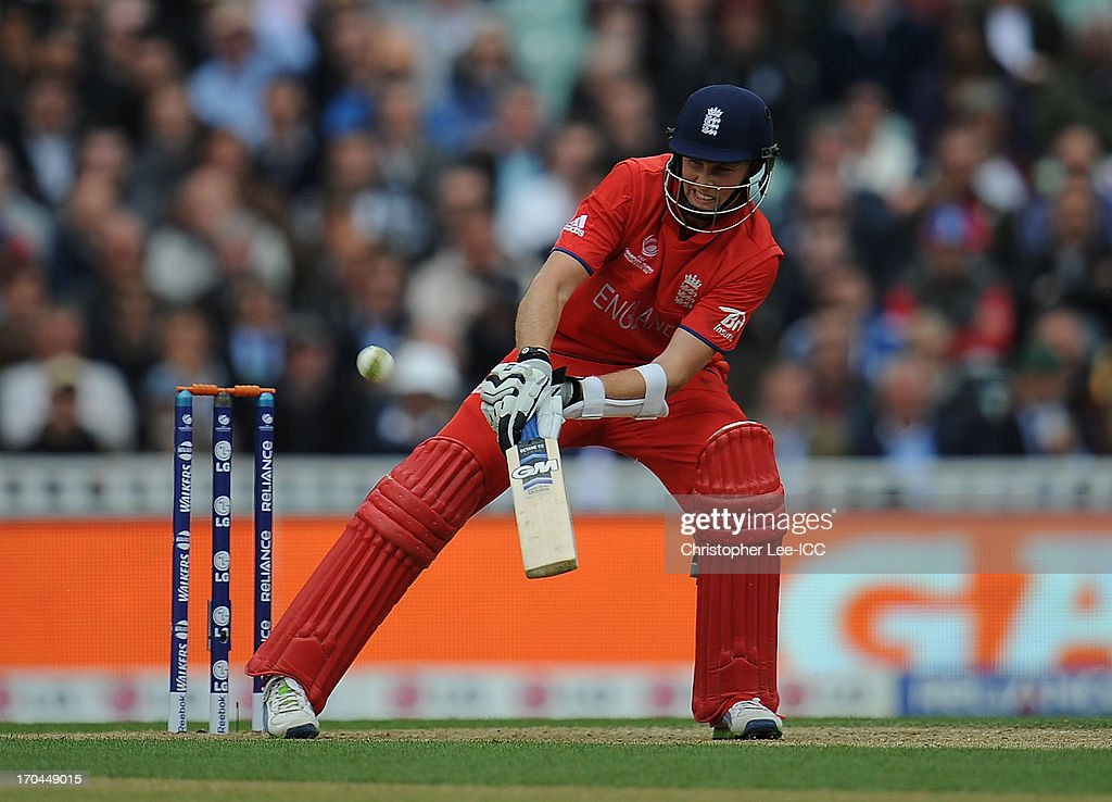 <a gi-track='captionPersonalityLinkClicked' href=/galleries/search?phrase=Joe+Root&family=editorial&specificpeople=6688996 ng-click='$event.stopPropagation()'>Joe Root</a> of England in action during the ICC Champions Trophy Group A match between England and Sri Lanka at The Oval on June 13, 2013 in London, England.
