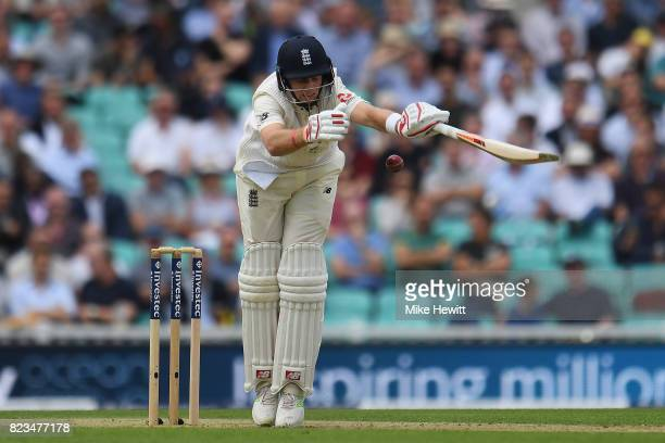 Joe Root of England is hit by a delivery from Morne Morkel of South Africa during Day One of the 3rd Investec Test between England and South Africa...