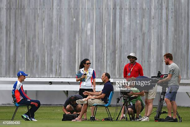 Joe Root of England is interviewed by ex player and Sky television commentator Nasser Hussain after the England nets session at the National Cricket...