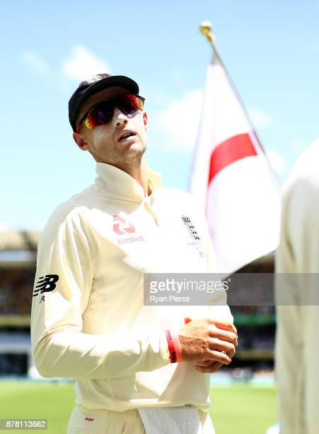 Joe Root of England leads his team onto the field during day two of the First Test Match of the 2017/18 Ashes Series between Australia and England at...