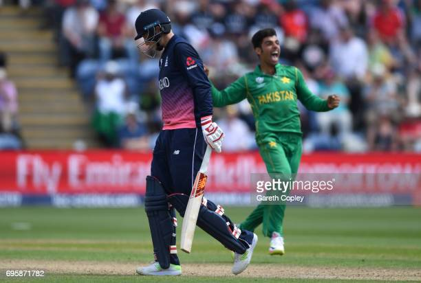 Joe Root of England leaves the field after being dismissed by Shadab Khan of Pakistan during the ICC Champions Trophy Semi Final between England and...