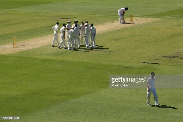 Joe Root of England leaves the field after being dismissed during day two of the Third Ashes Test Match between Australia and England at WACA on...
