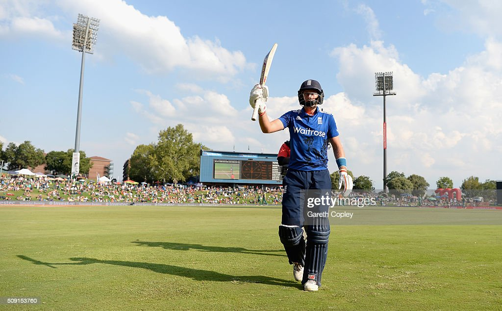 <a gi-track='captionPersonalityLinkClicked' href=/galleries/search?phrase=Joe+Root&family=editorial&specificpeople=6688996 ng-click='$event.stopPropagation()'>Joe Root</a> of England leaves the field after making 125 runs during the 3rd Momentum ODI match between South Africa and England at Supersport Park on February 9, 2016 in Centurion, South Africa.