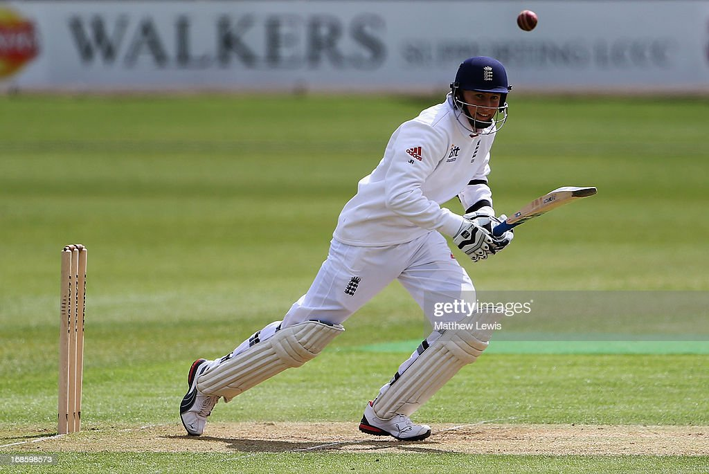 Joe Root of England Lions hits the ball towards the boundary during day four of the tour match between England Lions and New Zealand at Grace Road on May 12, 2013 in Leicester, England.