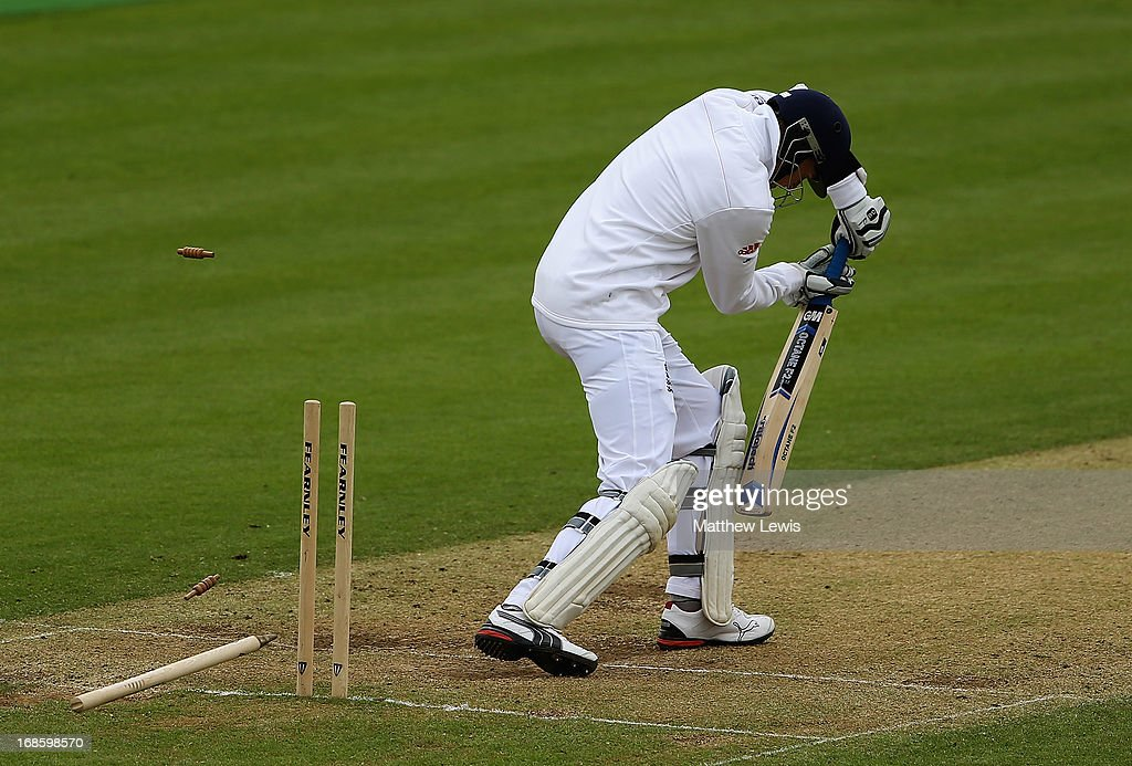 Joe Root of England Lions is bowled by Doug Bracewell of New Zealand during day four of the tour match between England Lions and New Zealand at Grace Road on May 12, 2013 in Leicester, England.