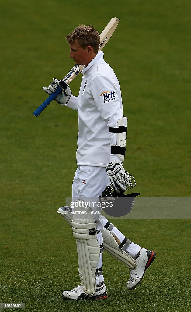 Joe Root of England Lions walks off, after he was bowled by Doug Bracewell of New Zealand during day four of the tour match between England Lions and New Zealand at Grace Road on May 12, 2013 in Leicester, England.