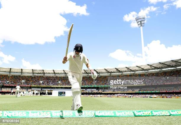 Joe Root of England looks dejected after being dismissed by Josh Hazlewood of Australia during day four of the First Test Match of the 2017/18 Ashes...