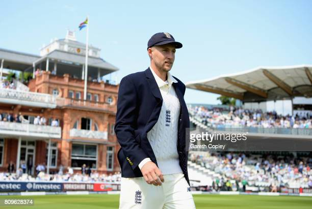 Joe Root of England looks on during day one of the 1st Investec Test match between England and South Africa at Lord's Cricket Ground on July 6 2017...