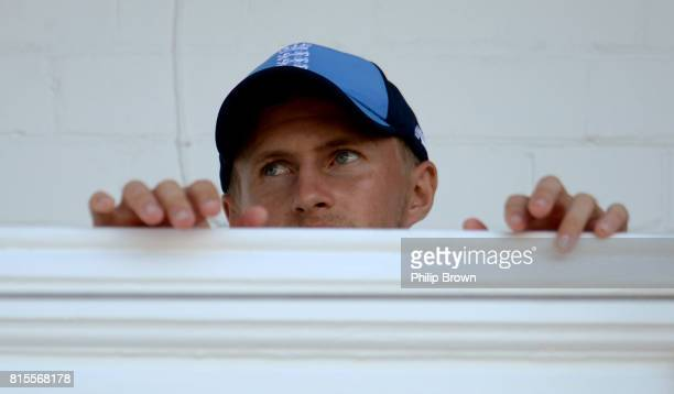 Joe Root of England looks on from the dressing room balcony during the third day of the 2nd Investec Test match between England and South Africa at...
