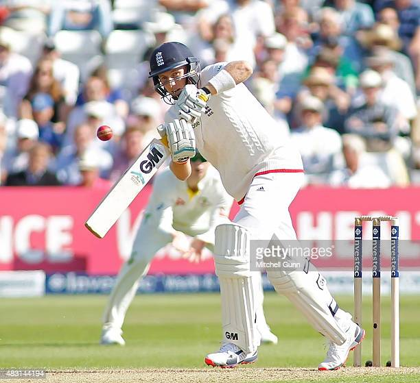 Joe Root of England plays a shot during day one of the 4th Investec Ashes Test match between England and Australia at Trent Bridge on August 6 2015...