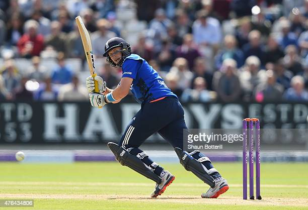 Joe Root of England plays a shot during the 1st ODI Royal London OneDay Series 2015 match between England and NewZealand at Edgbaston on June 9 2015...