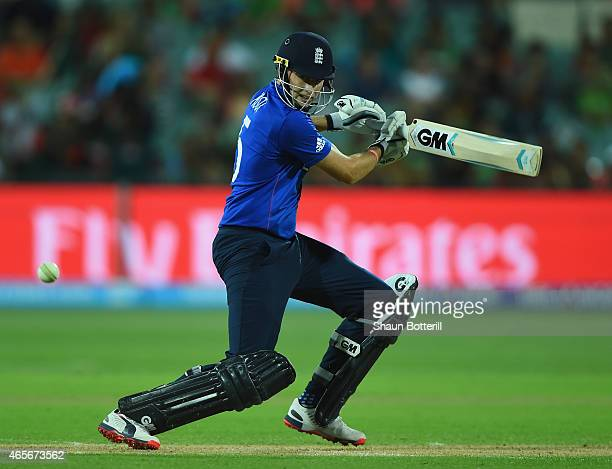 Joe Root of England plays a shot during the 2015 ICC Cricket World Cup match between England and Bangladesh at Adelaide Oval on March 9 2015 in...