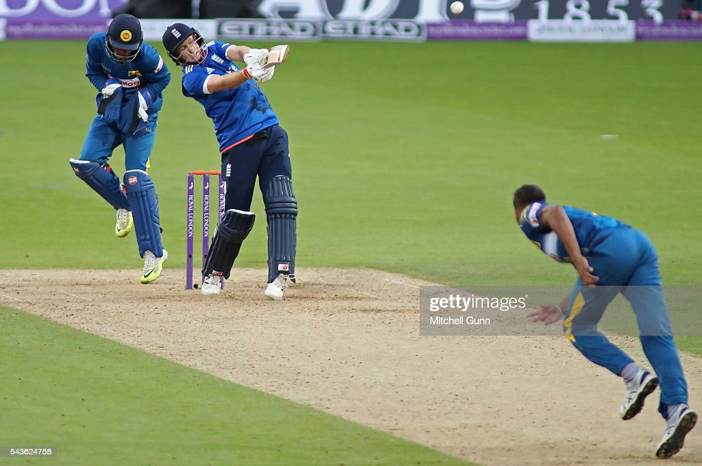 Joe Root of England plays a shot during the 4th Royal London One-Day International between England and Sri Lanka at The Kia Oval Cricket Ground on June 29, 2016 in London, England.