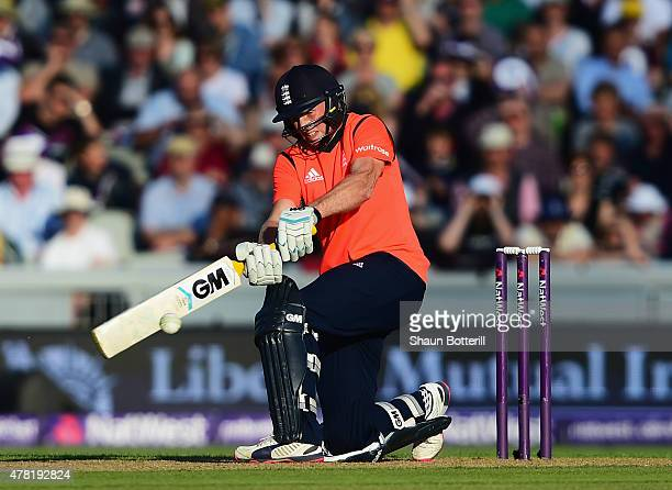 Joe Root of England plays a shot during the NatWest International Twenty20 match between England and New Zealand at Old Trafford on June 23 2015 in...