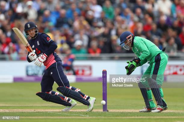 Joe Root of England plays to the legside as wicketkeeper Niall O'Brien looks on during the Royal London One Day International match between England...