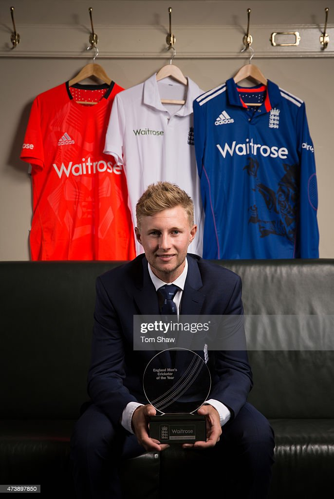<a gi-track='captionPersonalityLinkClicked' href=/galleries/search?phrase=Joe+Root&family=editorial&specificpeople=6688996 ng-click='$event.stopPropagation()'>Joe Root</a> of England poses with the trophy after being announced the ECB Mens Player of the Year during the ECB Team England Player of the Year Awards Dinner at Lords on May 18, 2015 in London, England.