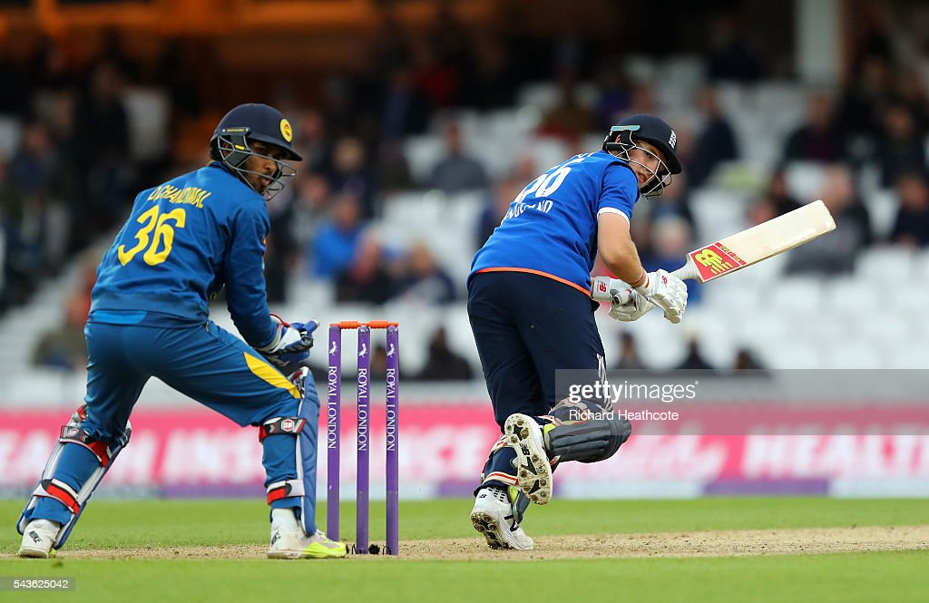 Joe Root of England reverse sweeps during the 4th Royal London ODI between England and Sri Lanka at The Kia Oval on June 29, 2016 in London, England.
