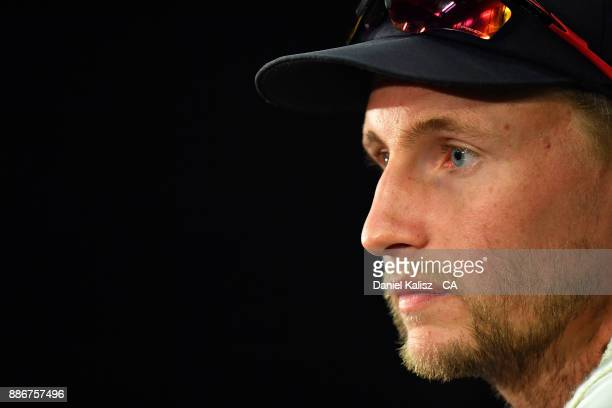 Joe Root of England speaks to the media during a post match press conference during day five of the Second Test match during the 2017/18 Ashes Series...