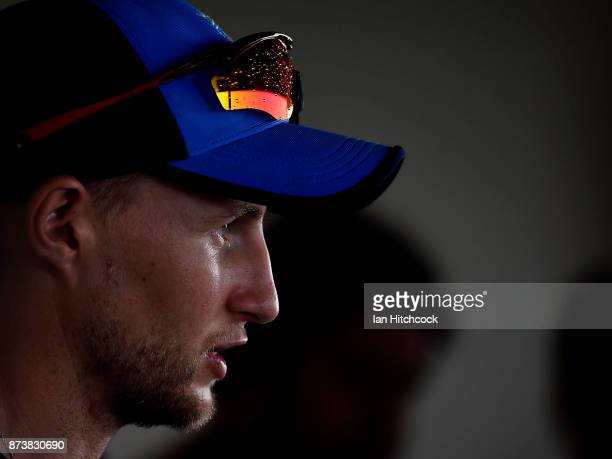 Joe Root of England speaks to the media during an England nets session at Riverway Stadium on November 14 2017 in Townsville Australia