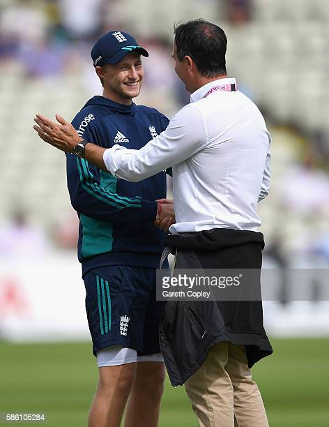 Joe Root of England speaks with former captain Michael Vaughan ahead of day three of the 3rd Investec Test between England and Pakistan at Edgbaston...