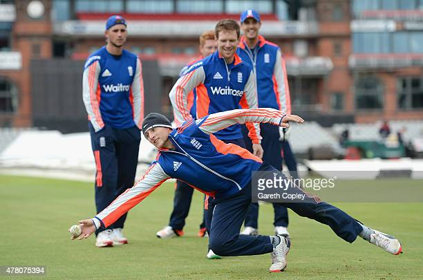 Joe Root of England takes part in a fielding drill during a nets session at Old Trafford on June 22 2015 in Manchester England
