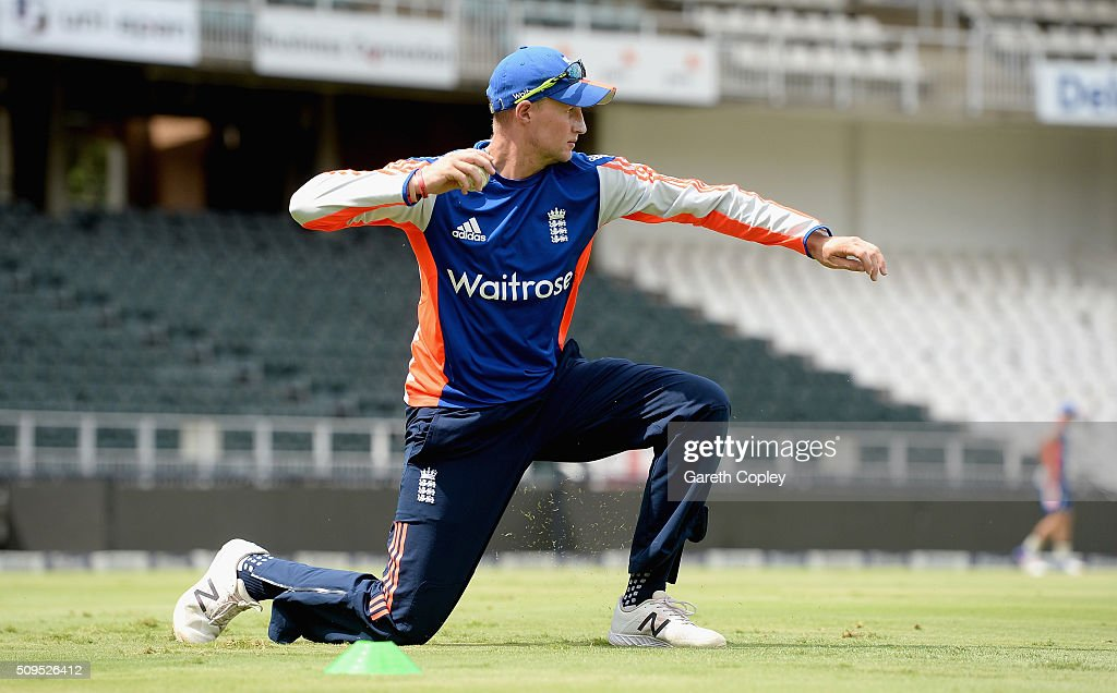 <a gi-track='captionPersonalityLinkClicked' href=/galleries/search?phrase=Joe+Root&family=editorial&specificpeople=6688996 ng-click='$event.stopPropagation()'>Joe Root</a> of England throws the ball during a nets session at Bidvest Stadium on February 11, 2016 in Johannesburg, South Africa.