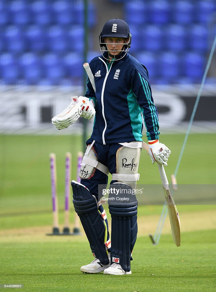 <a gi-track='captionPersonalityLinkClicked' href=/galleries/search?phrase=Joe+Root&family=editorial&specificpeople=6688996 ng-click='$event.stopPropagation()'>Joe Root</a> of England waits to bat during a nets session at SWALEC Stadium on July 1, 2016 in Cardiff, England.