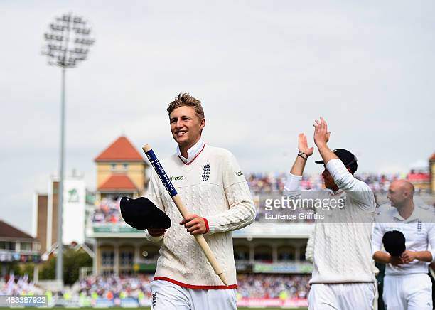 Joe Root of England walks off clutching a stump afterwinning the Ashes on day three of the 4th Investec Ashes Test match between England and...