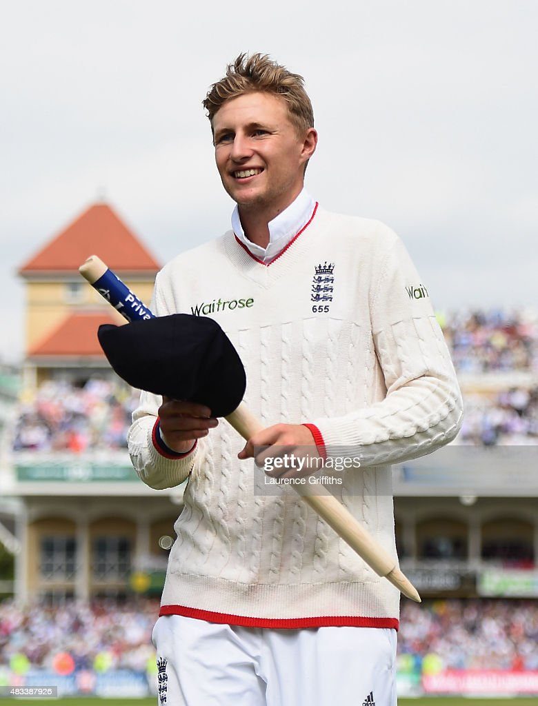 <a gi-track='captionPersonalityLinkClicked' href=/galleries/search?phrase=Joe+Root&family=editorial&specificpeople=6688996 ng-click='$event.stopPropagation()'>Joe Root</a> of England walks off clutching a stump afterwinning the Ashes on day three of the 4th Investec Ashes Test match between England and Australia at Trent Bridge on August 8, 2015 in Nottingham, United Kingdom.