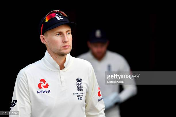 Joe Root of England walks onto the ground at the conclusion of the tea break during day two of the Four Day Tour match between the Cricket Australia...