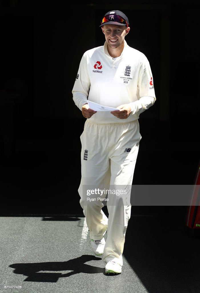 Joe Root of England walks out for the coin toss during the four day tour match between Cricket Australia XI and England at Adelaide Oval on November 8, 2017 in Adelaide, Australia.