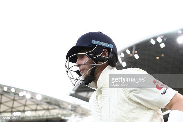Joe Root of England walks out to bat during day four of the Second Test match during the 2017/18 Ashes Series between Australia and England at...
