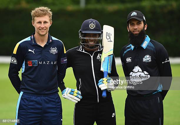 Joe Root of Yorkshire athlete Perri ShakesDrayton of Great Britain and Moeen Ali of Worcestershire pose during the NatWest T20 Blast Media Launch at...