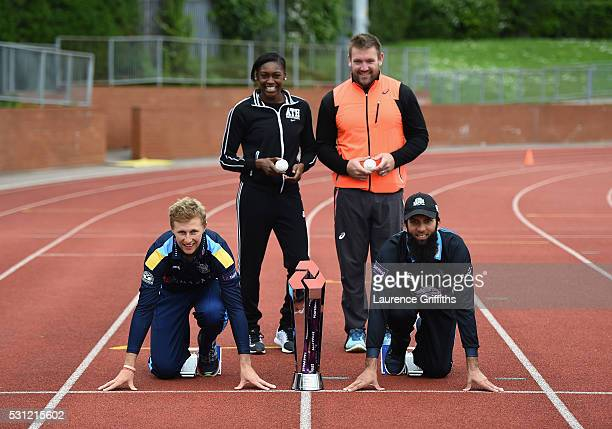 Joe Root of Yorkshire athletes Perri ShakesDrayton and Dan Greaves of Great Britain and Moeen Ali of Worcestershire pose during the NatWest T20 Blast...