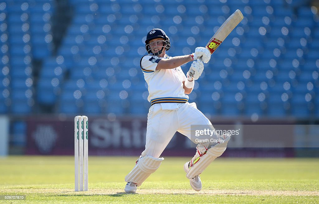 Joe Root of Yorkshire bats during day two of the Specsavers County Championship Division One match between Yorkshire and Surrey on May 09 2016 in...