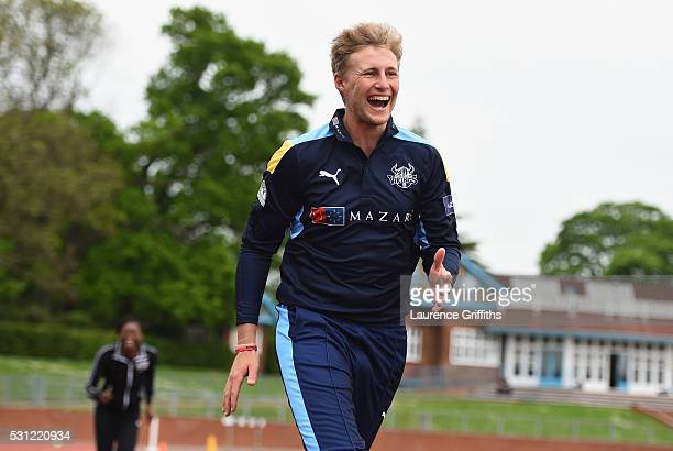 Joe Root of Yorkshire laughs during the NatWest T20 Blast Media Launch at Loughborough University on May 13 2016 in Loughborough England