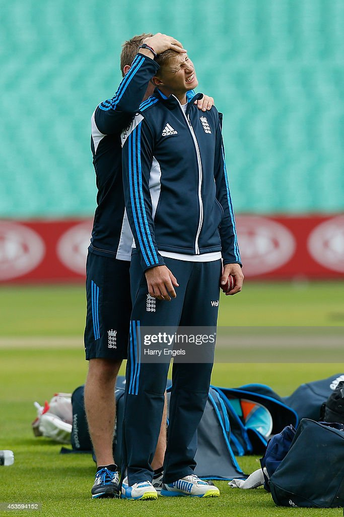 Joe Root stretches his neck during an England Nets Session at The Kia Oval on August 14, 2014 in London, England.