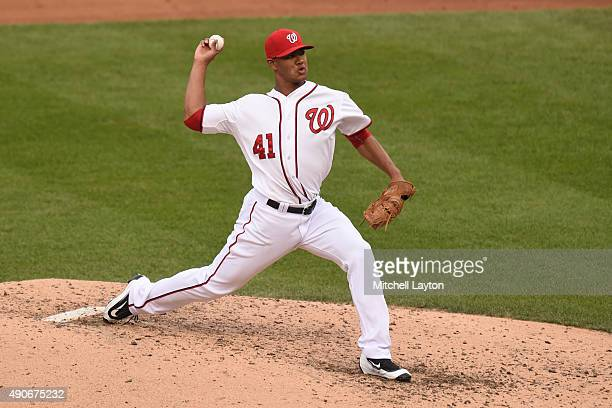 Joe Ross of the Washington Nationals during a baseball game against the Baltimore Orioles at Nationals Park on September 24 2015 in Washington DC The...