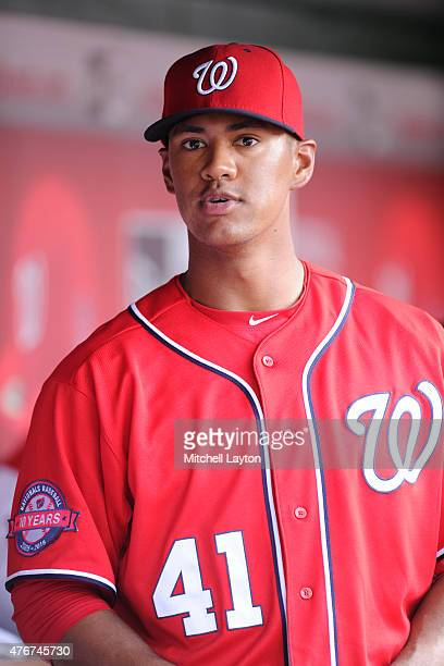 Joe Ross of the Washington Nationals looks on during a baseball game against the Chicago Cubs at Nationals Park on June 7 2015 in Washington DC The...