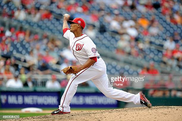 Joe Ross of the Washington Nationals pitches against the Miami Marlins at Nationals Park on September 20 2015 in Washington DC