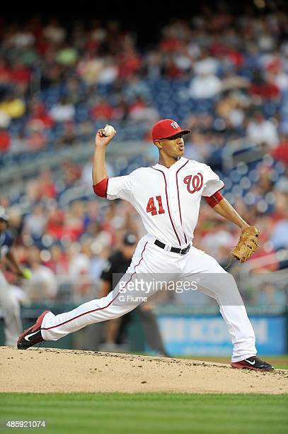 Joe Ross of the Washington Nationals pitches against the San Diego Padres at Nationals Park on August 27 2015 in Washington DC