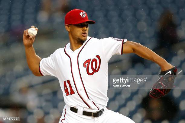 Joe Ross of the Washington Nationals pitches against the Seattle Mariners during the first inning at Nationals Park on May 23 2017 in Washington DC