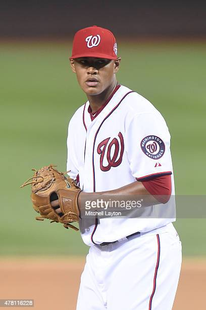 Joe Ross of the Washington Nationals pitches during a baseball game against the Pittsburgh Pirates at Nationals Park on June 19 2015 in Washington DC...