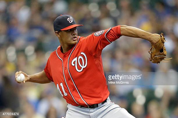 Joe Ross of the Washington Nationals pitches during the first inning against the Milwaukee Brewers at Miller Park on June 13 2015 in Milwaukee...