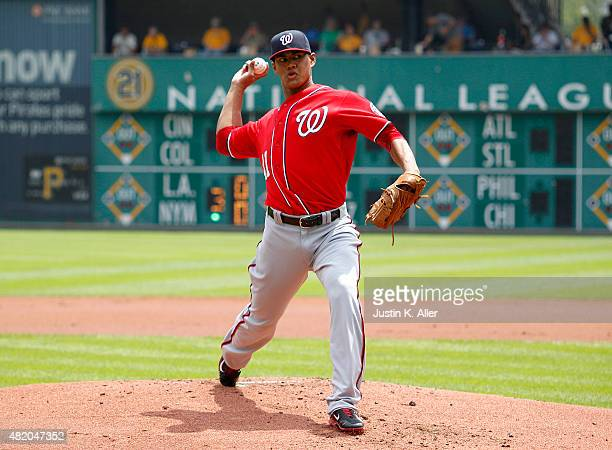 Joe Ross of the Washington Nationals pitches in the first inning during the game against the Pittsburgh Pirates at PNC Park on July 26 2015 in...